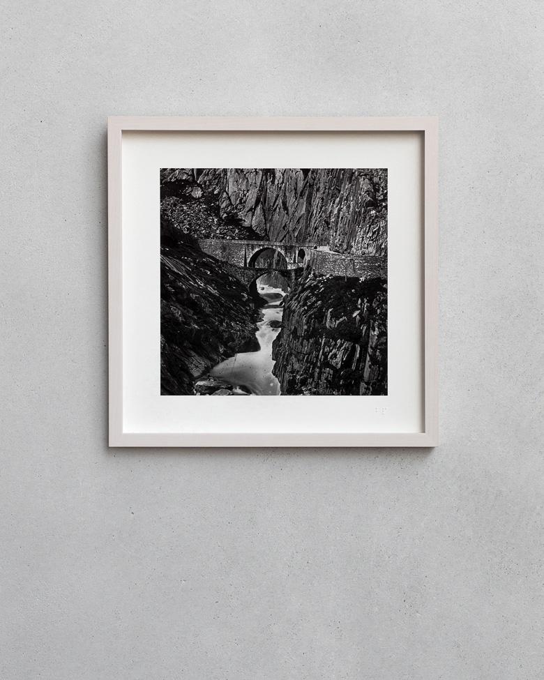blackprint edition - karo edition Nr.004, antique stereoview photography on glass of Ferrier Soulier, Devil's Bridge / Teufelsbrücke - Gotthard in Switzerland 1864