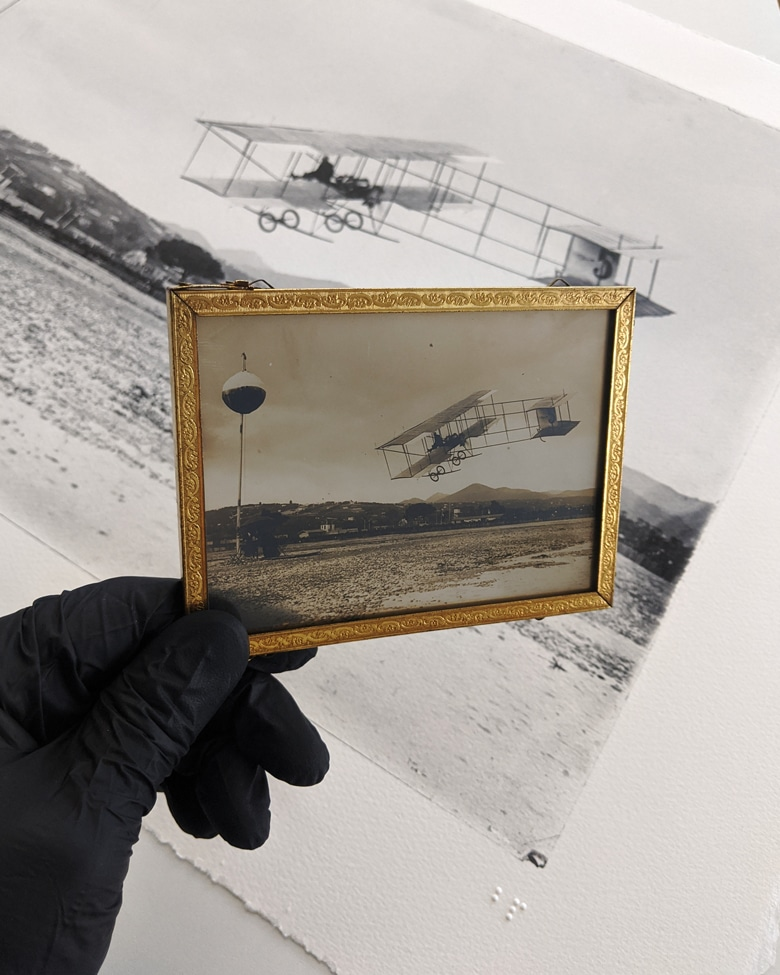blackprint edition - Farman biplane 1 ca.1909, Limited edition numbered - detail